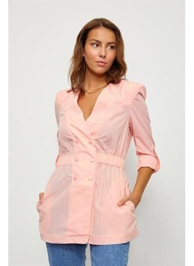 Setre Lila Çıtçıtlı Kruvaze Ceket Renkli